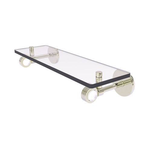 Clearview Polished Nickel 16-Inch Glass Shelf