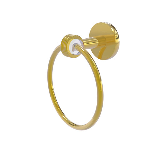Clearview Polished Brass Seven-Inch Towel Ring with Groovy Accents
