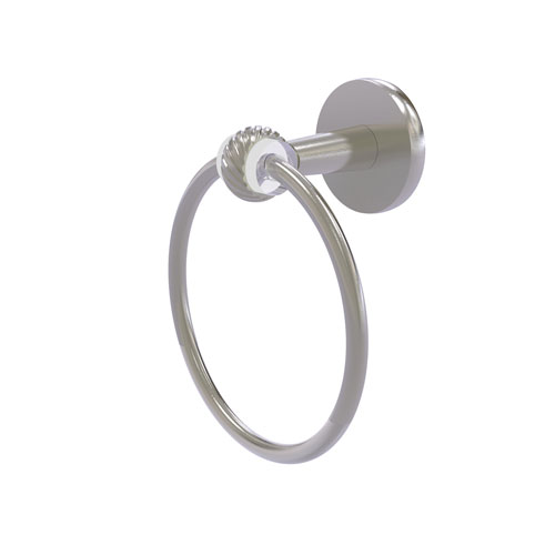 Clearview Satin Nickel Seven-Inch Towel Ring with Twist Accents