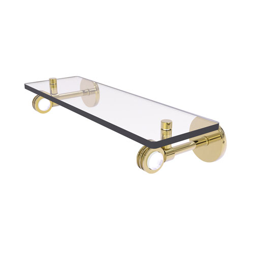 Clearview Unlacquered Brass 16-Inch Glass Shelf with Dotted Accents