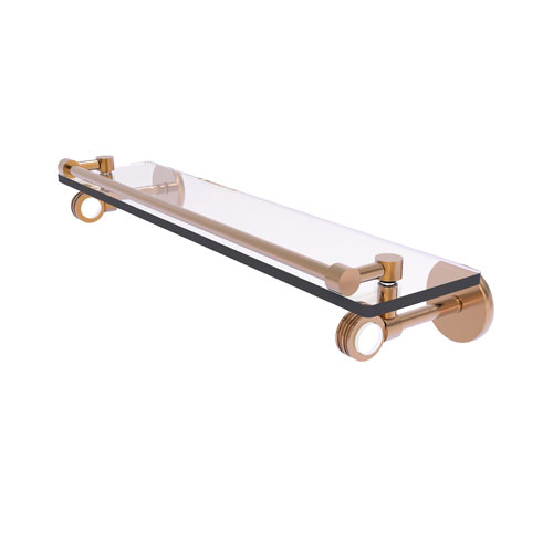 Clearview Brushed Bronze 22-Inch Gallery Rail Glass Shelf with Dotted Accents