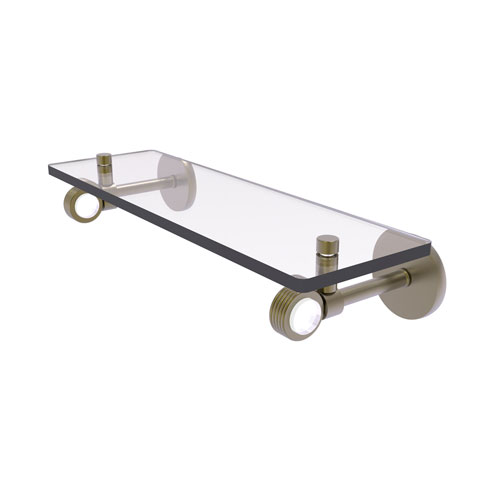 Clearview Antique Brass 16-Inch Glass Shelf with Groovy Accents
