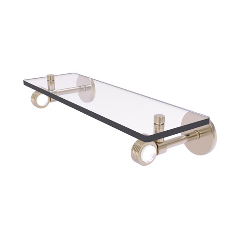 Clearview Antique Pewter 16-Inch Glass Shelf with Groovy Accents