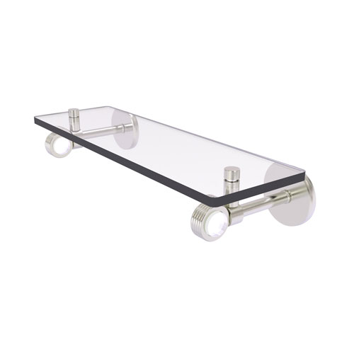 Clearview Satin Nickel 16-Inch Glass Shelf with Groovy Accents