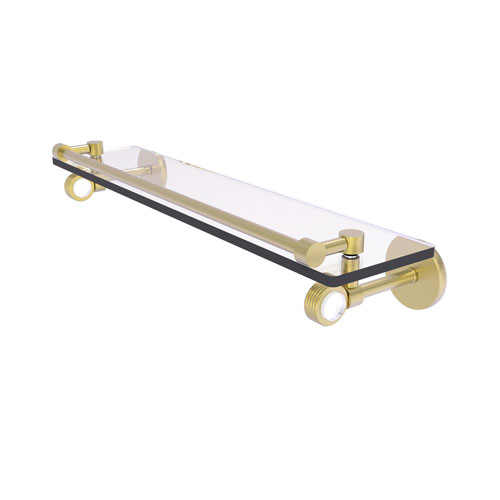 Clearview Satin Brass 22-Inch Gallery Rail Glass Shelf with Groovy Accents
