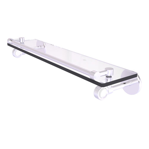 Clearview Satin Chrome 22-Inch Gallery Rail Glass Shelf with Groovy Accents