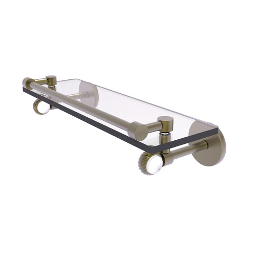 Clearview Antique Brass 16-Inch Gallery Rail Glass Shelf with Twisted Accents