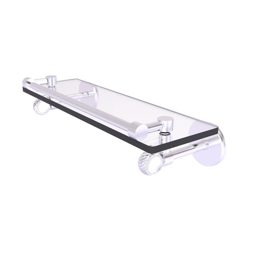 Clearview Satin Chrome 16-Inch Gallery Rail Glass Shelf with Twisted Accents