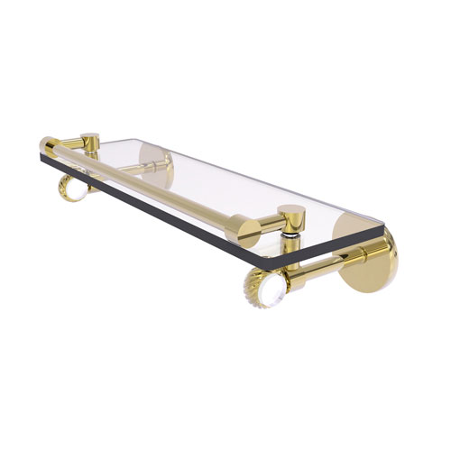Clearview Unlacquered Brass 16-Inch Gallery Rail Glass Shelf with Twisted Accents