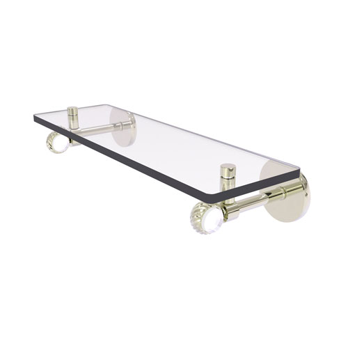 Clearview Polished Nickel 16-Inch Glass Shelf with Twisted Accents