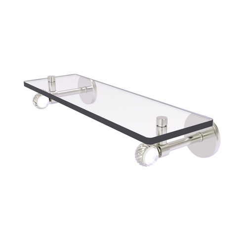 Clearview Satin Nickel 16-Inch Glass Shelf with Twisted Accents