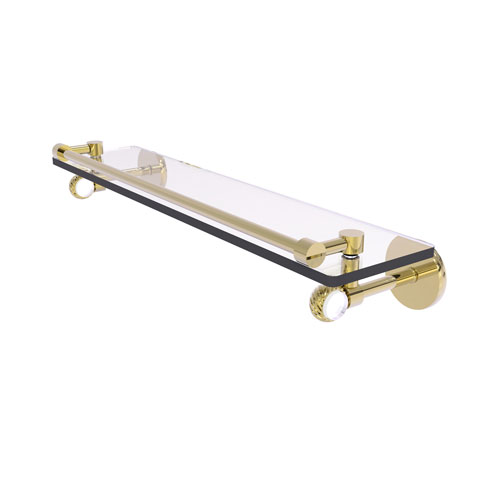 Clearview Unlacquered Brass 22-Inch Gallery Rail Glass Shelf with Twisted Accents