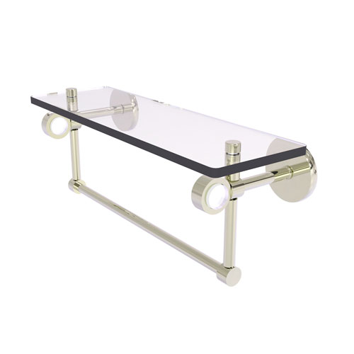 Clearview Polished Nickel 16-Inch Glass Shelf with Towel Bar