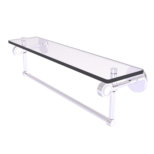 Clearview Satin Chrome 22-Inch Glass Shelf with Towel Bar