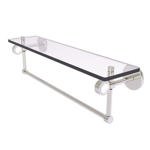 Clearview Satin Nickel 22-Inch Glass Shelf with Towel Bar