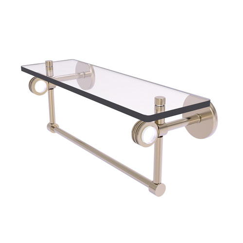 Clearview Antique Pewter 16-Inch Glass Shelf with Towel Bar and Dotted Accents