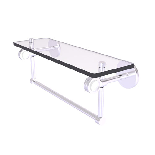 Clearview Satin Chrome 16-Inch Glass Shelf with Towel Bar and Dotted Accents