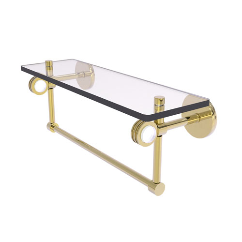 Clearview Unlacquered Brass 16-Inch Glass Shelf with Towel Bar and Dotted Accents