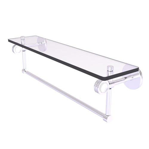 Clearview Satin Chrome 22-Inch Glass Shelf with Towel Bar and Dotted Accents