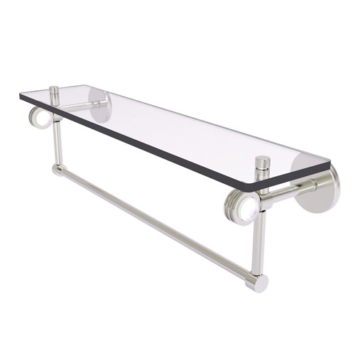 Clearview Satin Nickel 22-Inch Glass Shelf with Towel Bar and Dotted Accents
