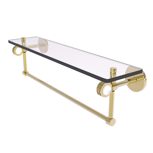 Clearview Unlacquered Brass 22-Inch Glass Shelf with Towel Bar and Dotted Accents