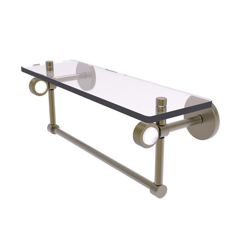 Clearview Antique Brass 16-Inch Glass Shelf with Towel Bar and Groovy Accents