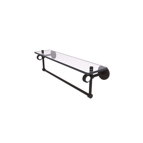 Clearview Oil Rubbed Bronze 22-Inch Glass Shelf with Towel Bar and Groovy Accents