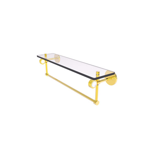 Clearview Polished Brass 22-Inch Glass Shelf with Towel Bar and Groovy Accents