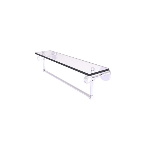 Clearview Satin Chrome 22-Inch Glass Shelf with Towel Bar and Groovy Accents