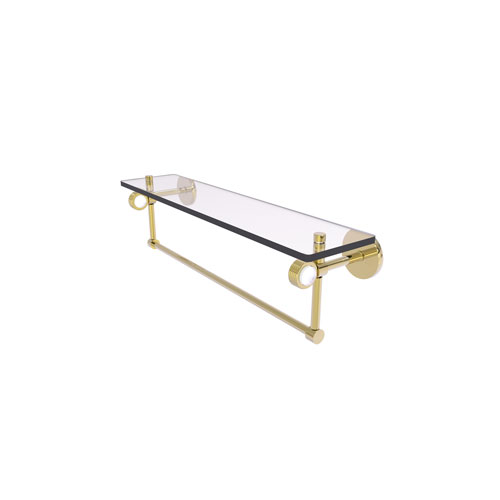 Clearview Unlacquered Brass 22-Inch Glass Shelf with Towel Bar and Groovy Accents