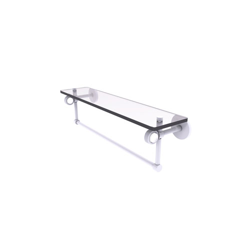 Clearview Matte White 22-Inch Glass Shelf with Towel Bar and Groovy Accents