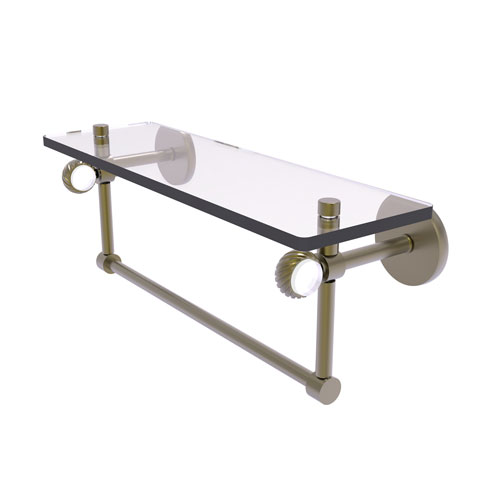 Clearview Antique Brass 16-Inch Glass Shelf with Towel Bar and Twisted Accents