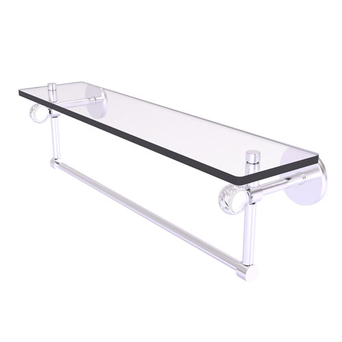 Clearview Satin Chrome 22-Inch Glass Shelf with Towel Bar and Twisted Accents