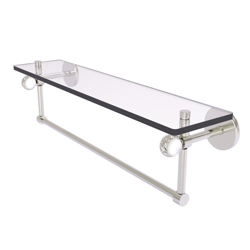 Clearview Satin Nickel 22-Inch Glass Shelf with Towel Bar and Twisted Accents