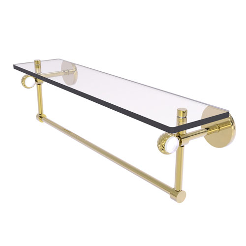 Clearview Unlacquered Brass 22-Inch Glass Shelf with Towel Bar and Twisted Accents