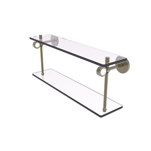 Clearview Antique Brass 22-Inch Two Tiered Glass Shelf