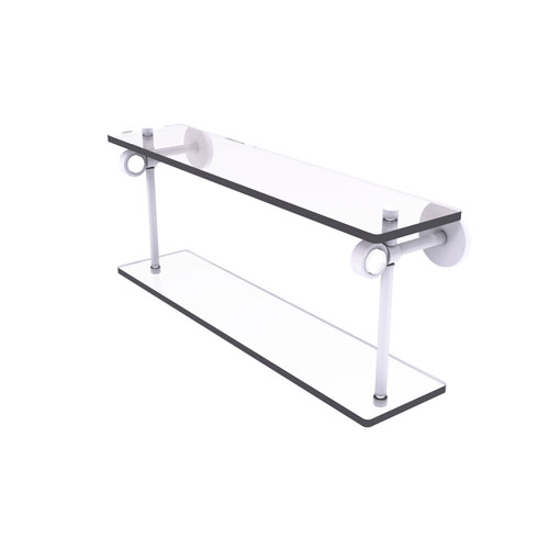 Clearview Matte White 22-Inch Two Tiered Glass Shelf
