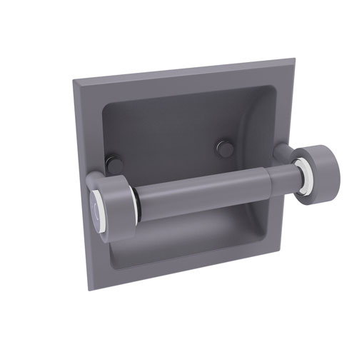 Clearview Matte Gray Six-Inch Recessed Toilet Paper Holder
