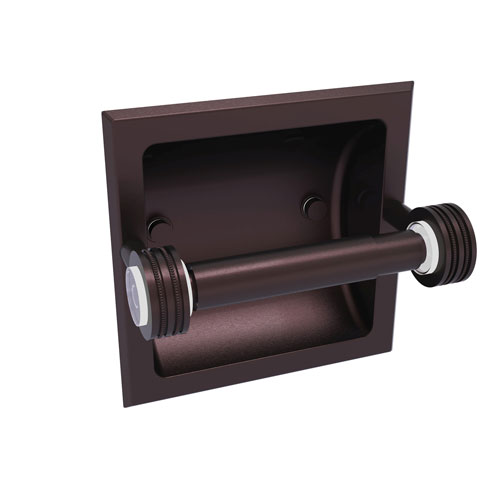 Clearview Antique Bronze Six-Inch Recessed Toilet Paper Holder with Dotted Accents