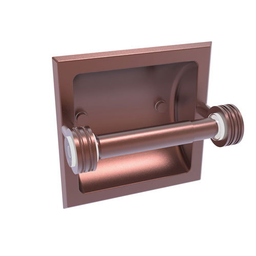 Clearview Antique Copper Six-Inch Recessed Toilet Paper Holder with Dotted Accents