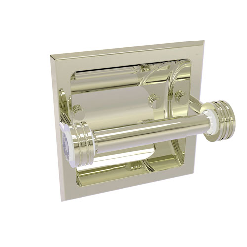 Clearview Polished Nickel Six-Inch Recessed Toilet Paper Holder with Dotted Accents