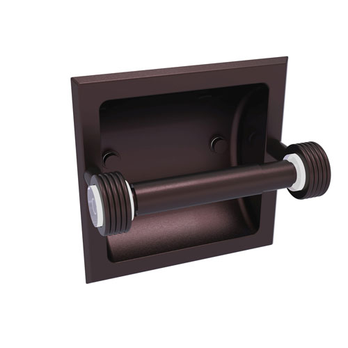 Clearview Antique Bronze Six-Inch Recessed Toilet Paper Holder with Groovy Accents