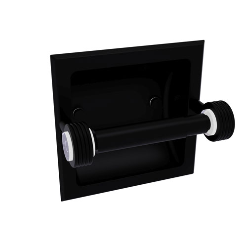 Clearview Matte Black Six-Inch Recessed Toilet Paper Holder with Groovy Accents