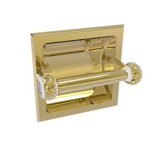 Clearview Unlacquered Brass Six-Inch Recessed Toilet Paper Holder with Twisted Accents