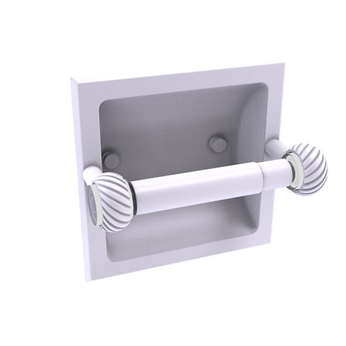 Clearview Matte White Six-Inch Recessed Toilet Paper Holder with Twisted Accents