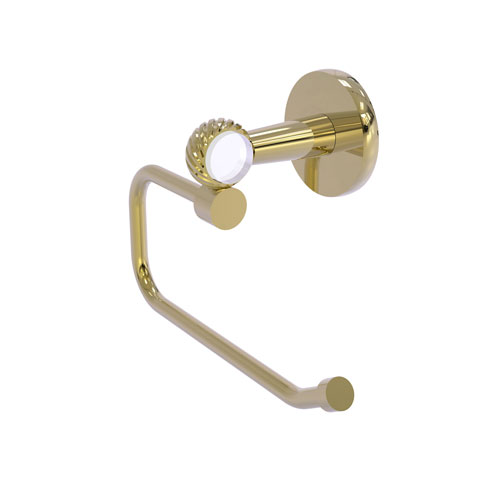 Clearview Unlacquered Brass Six-Inch Toilet Tissue Holder with Twisted Accents