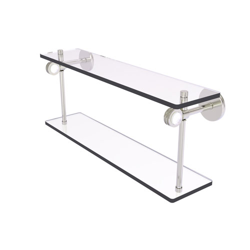 Clearview Satin Nickel 22-Inch Two Tiered Glass Shelf with Dotted Accents
