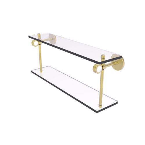 Clearview Satin Brass 16-Inch Two Tiered Glass Shelf with Groovy Accents