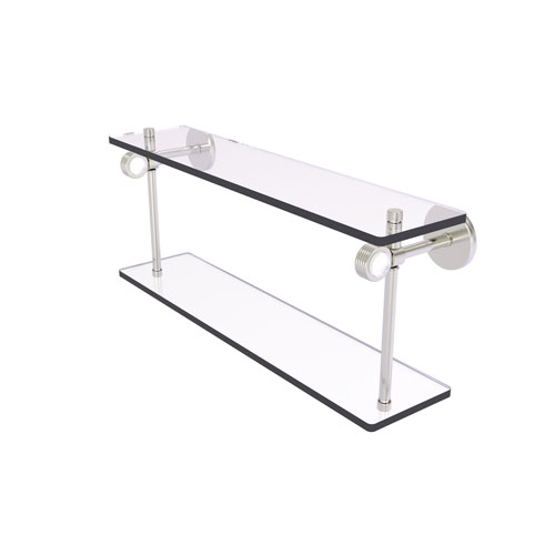 Clearview Satin Nickel 16-Inch Two Tiered Glass Shelf with Groovy Accents