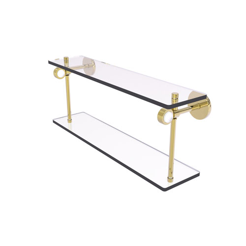 Clearview Unlacquered Brass 22-Inch Two Tiered Glass Shelf with Groovy Accents